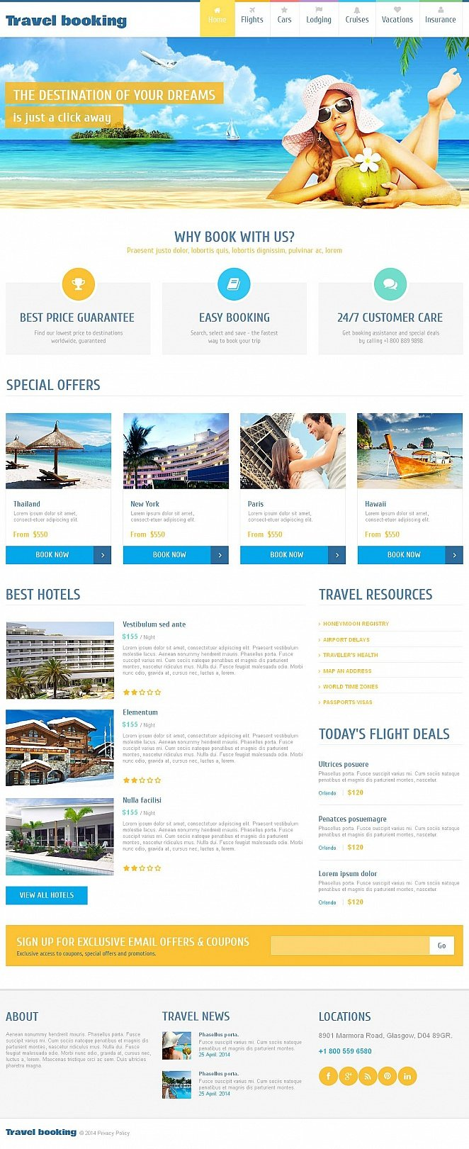 Travel Website Template with Large Image Above the Fold - image