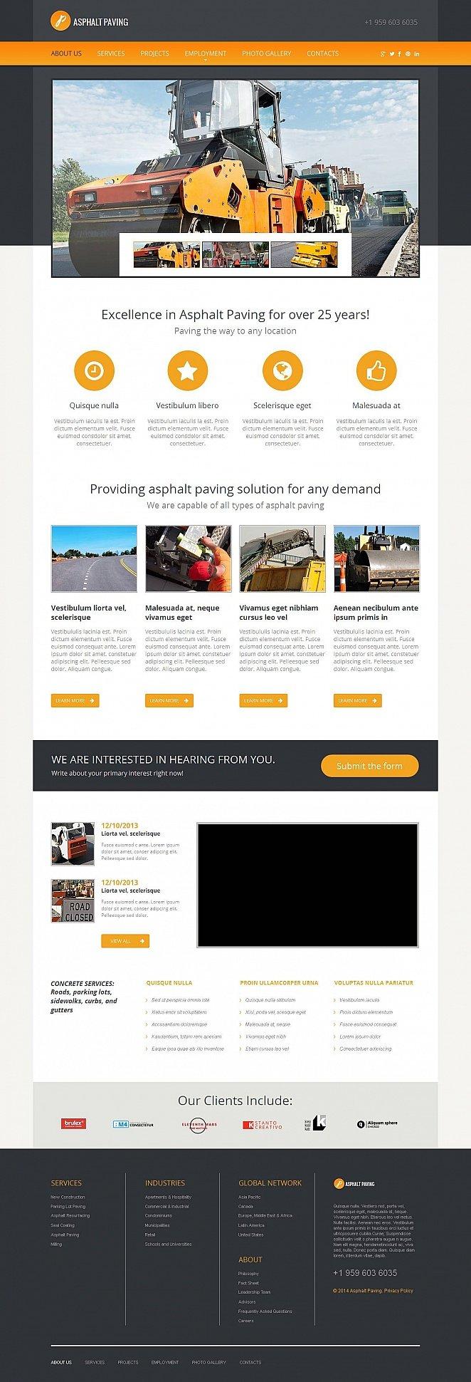 CMS Website Template for Asphalt Paving Services - image
