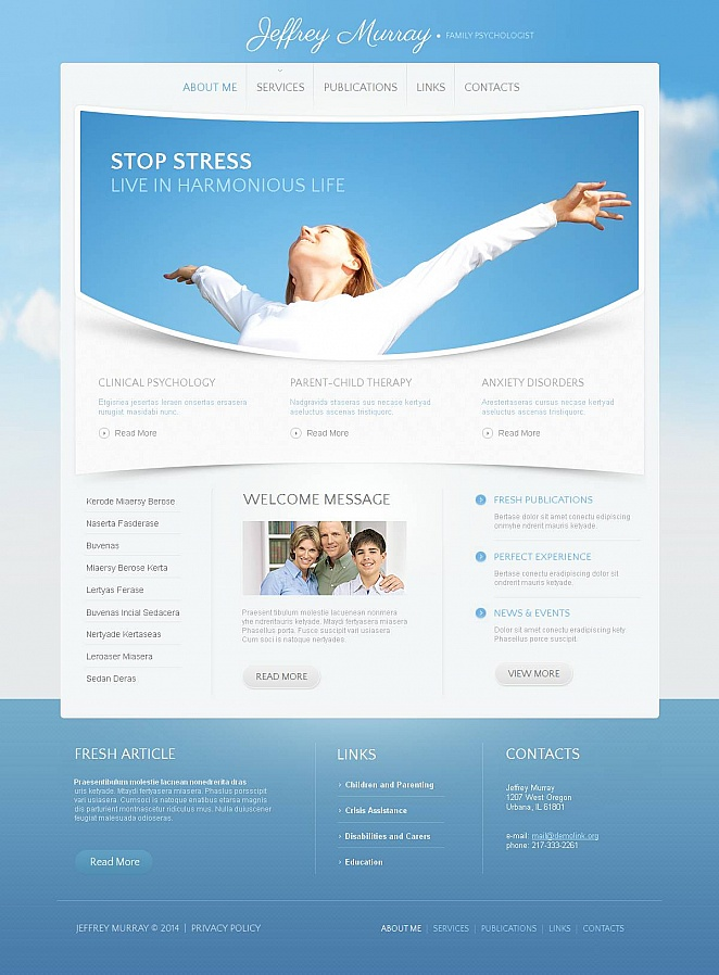 Family Psychology Website Design with Sky Blue Background - image