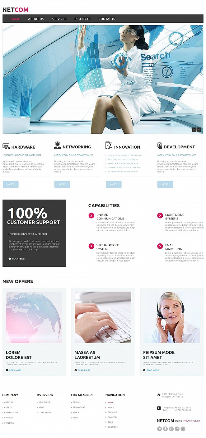 Communications Website Design in Clean Style - image