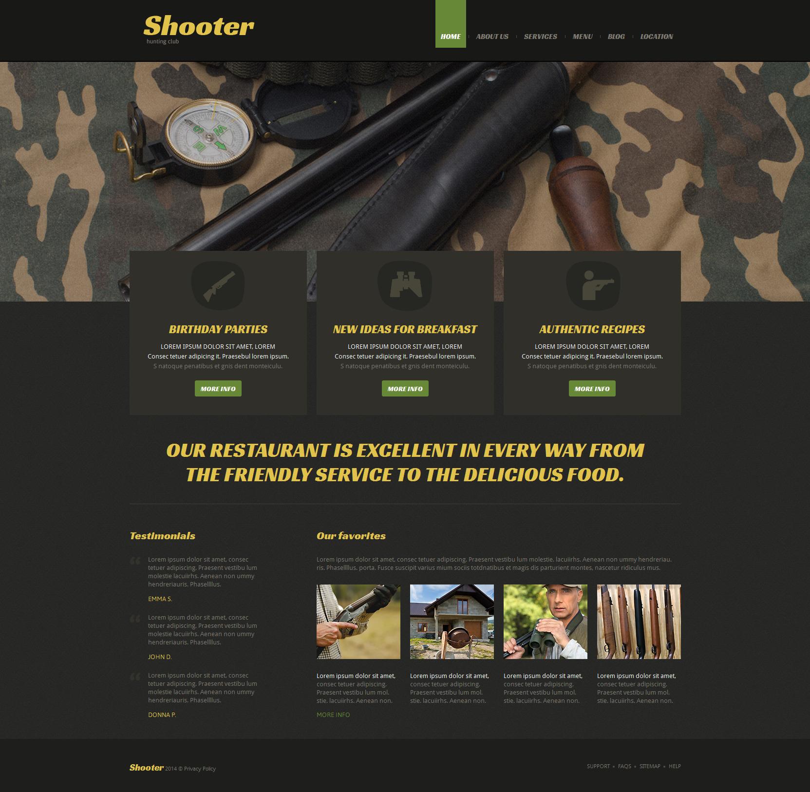 Адаптивный Joomla шаблон №51980 на тему стрельба - скриншот
