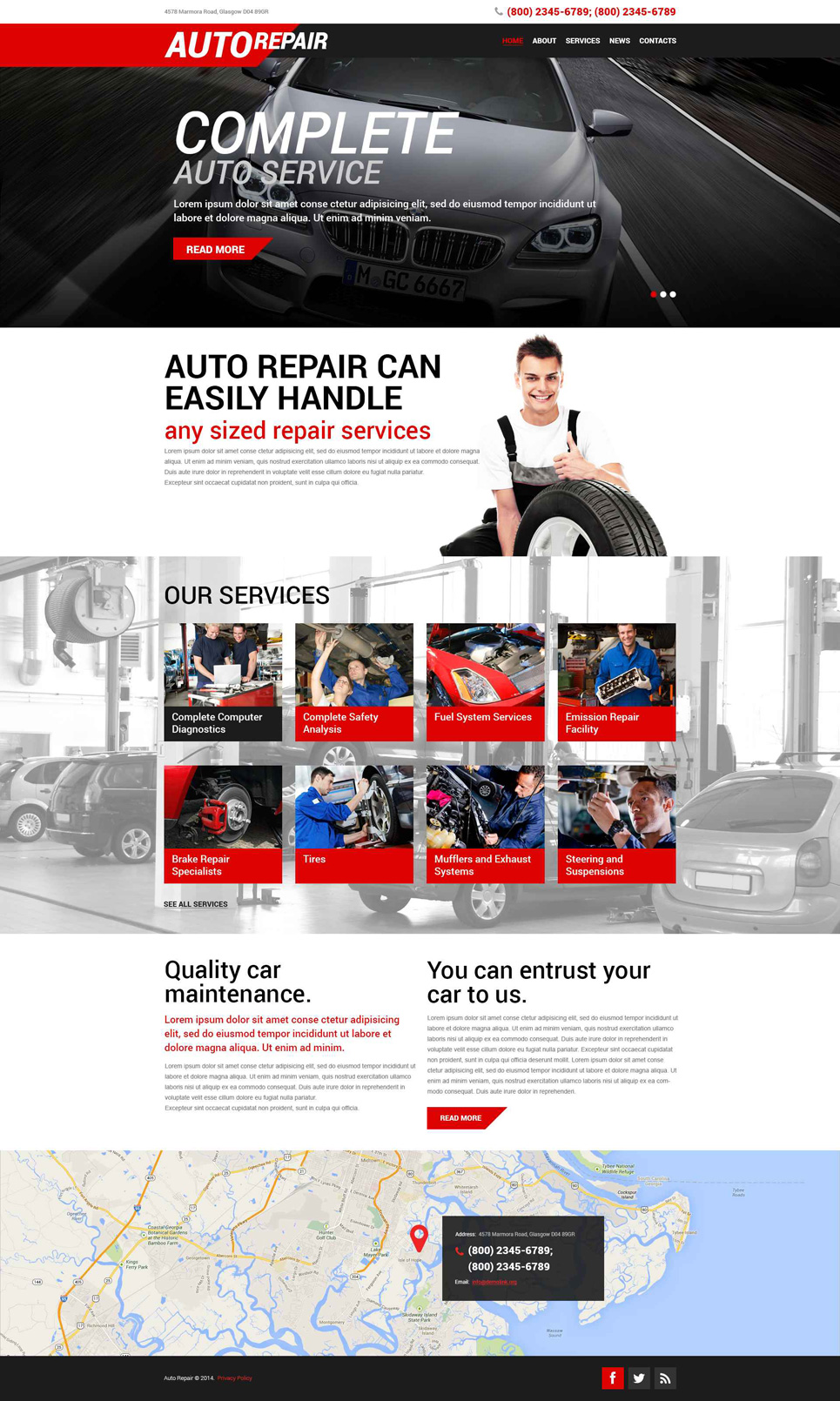 Адаптивный шаблон сайта на тему ремонт авто #51907