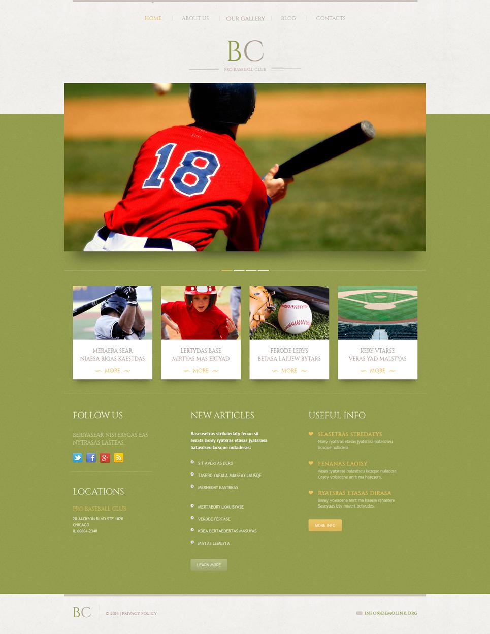 Адаптивный шаблон сайта на тему бейсбол #51910