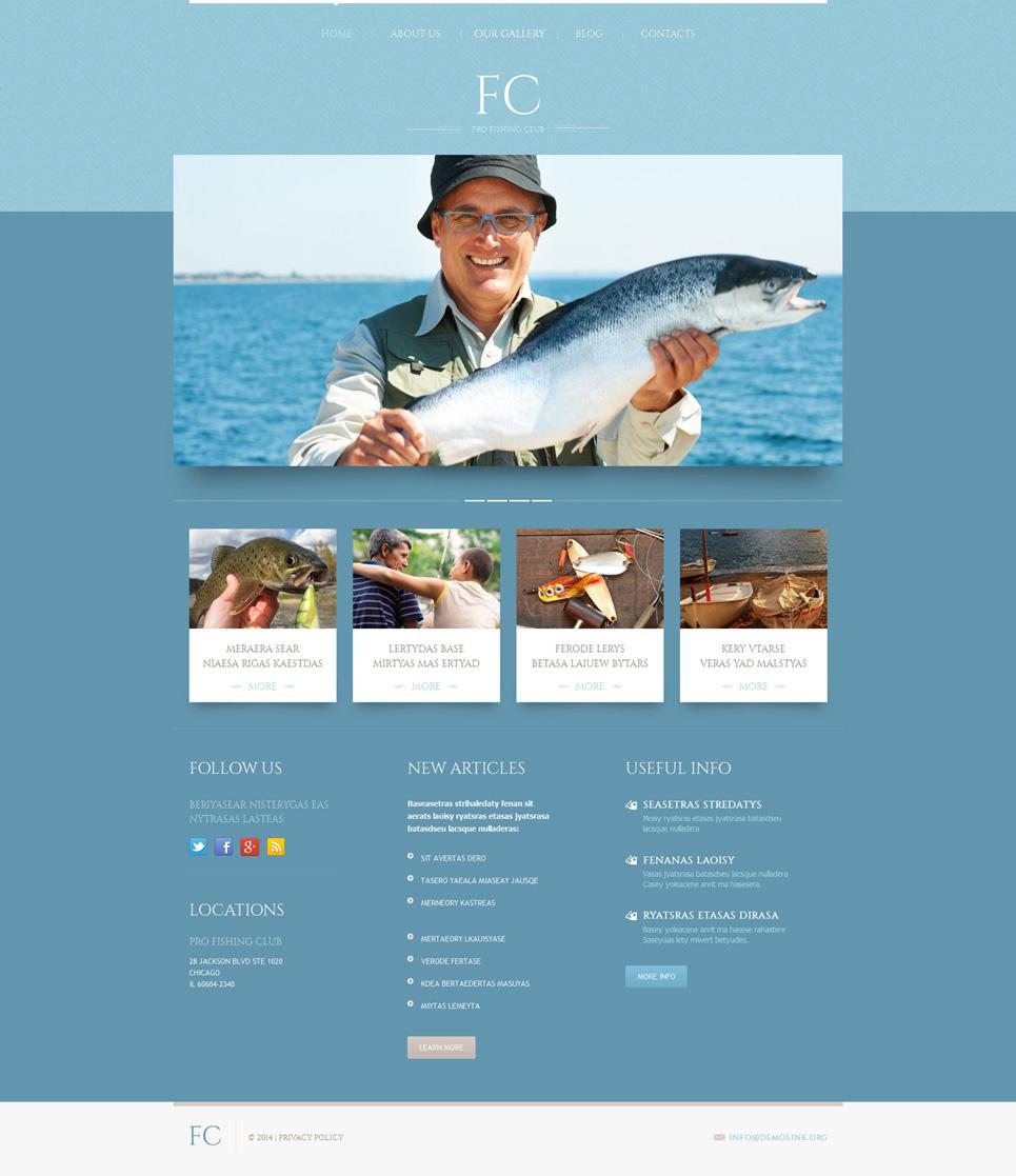 Адаптивный шаблон сайта на тему рыбалка #51912