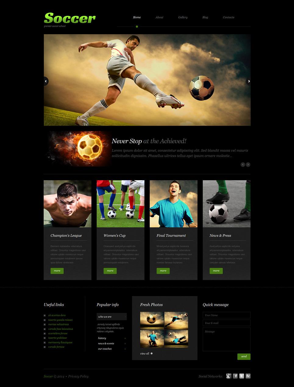 Адаптивный шаблон сайта на тему футбол #51914