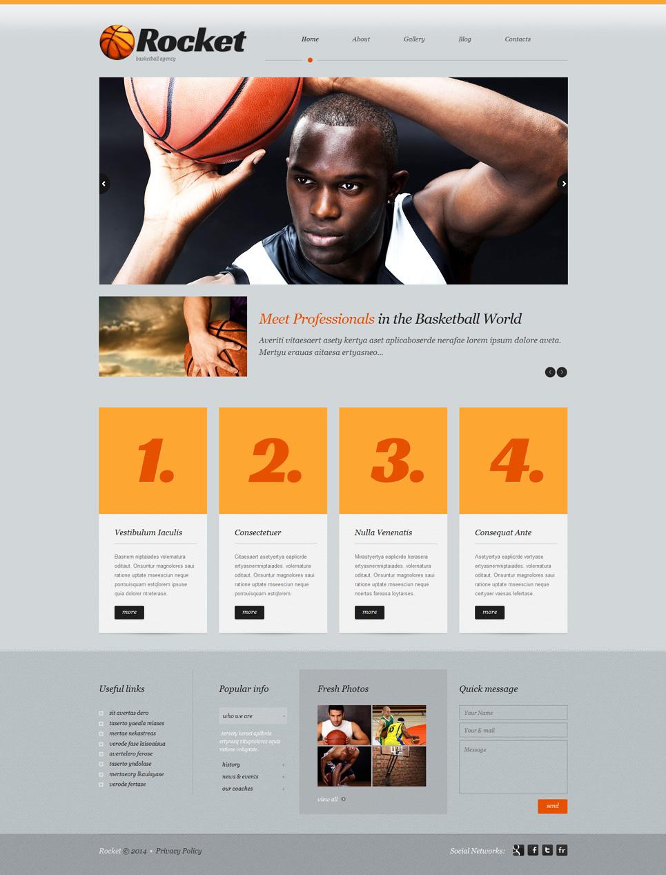 Адаптивный шаблон сайта на тему баскетбол #51915