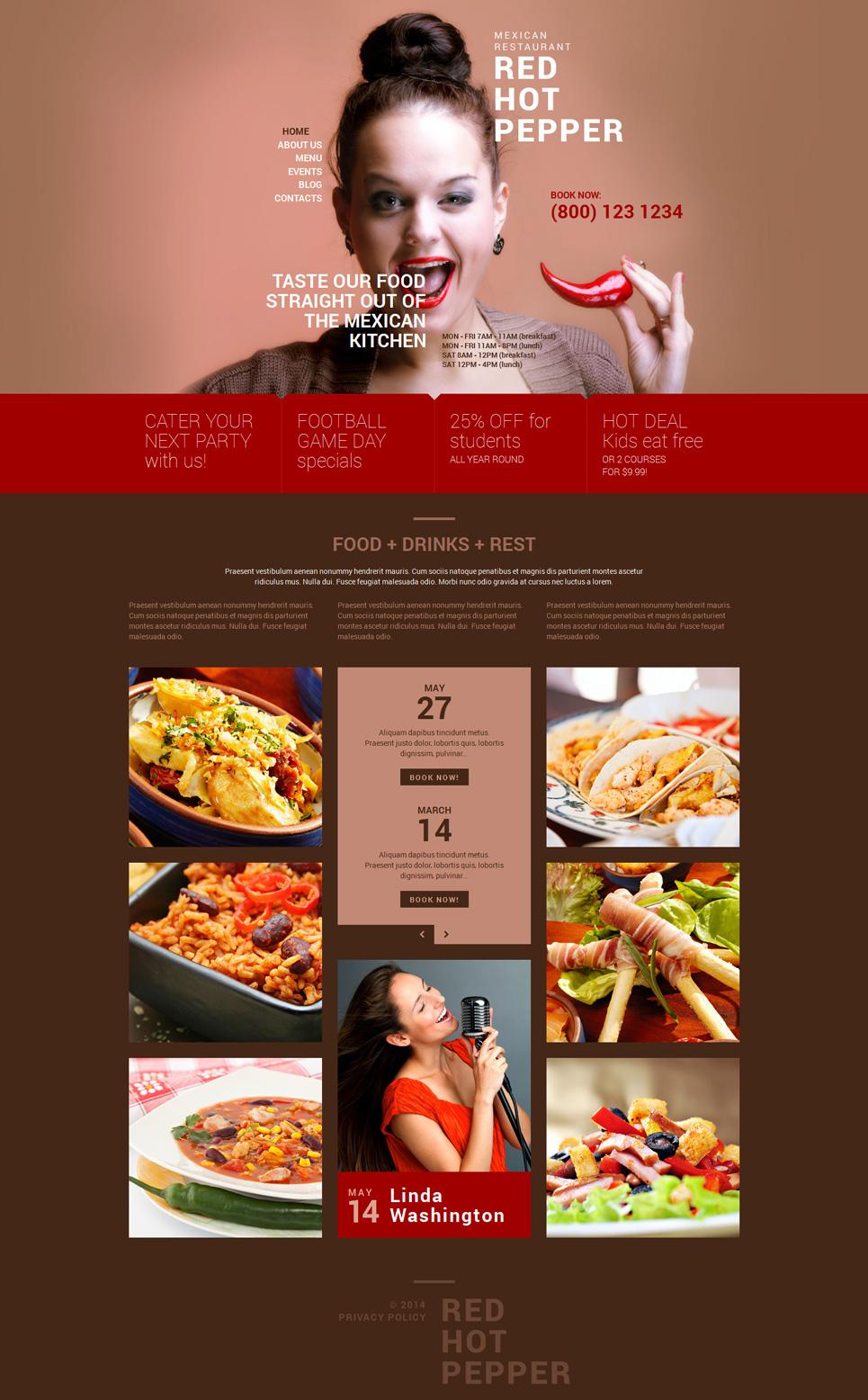 Адаптивный шаблон сайта на тему мексиканский ресторан #51918