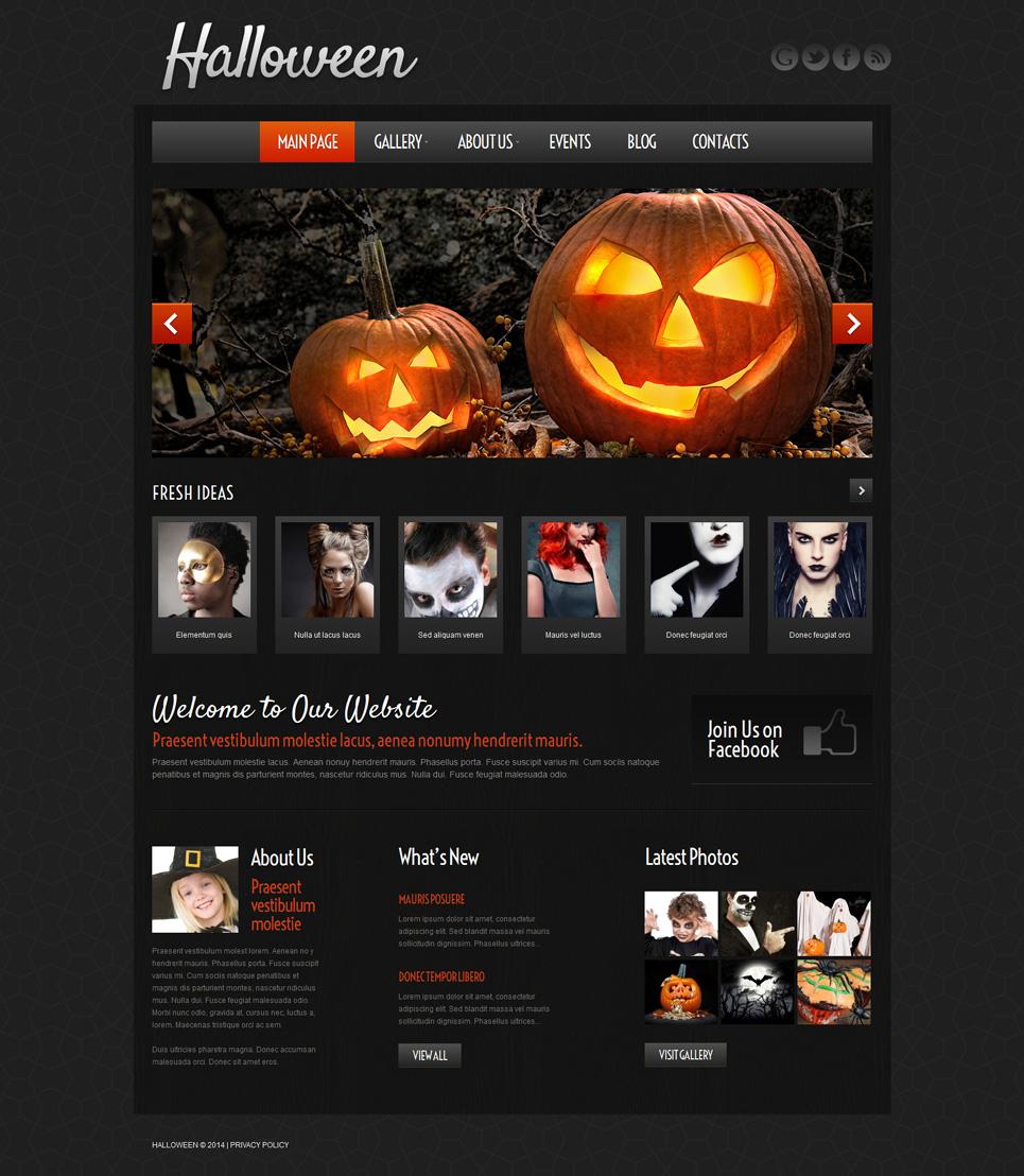 Адаптивный шаблон сайта на тему хелоуин #51972