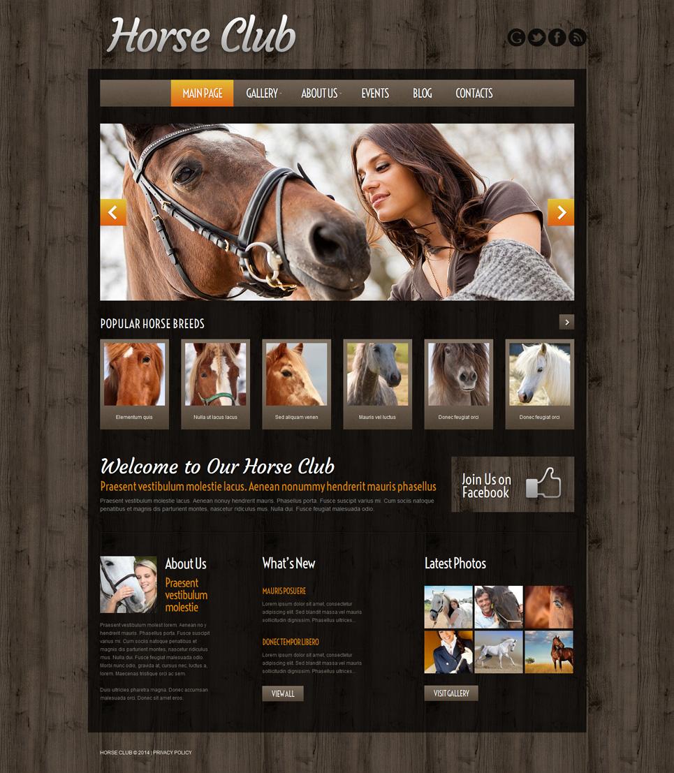 Адаптивный шаблон сайта на тему лошади #51973