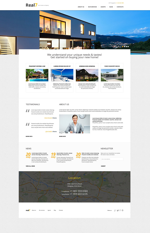Адаптивный шаблон сайта на тему агентство недвижимости #51989