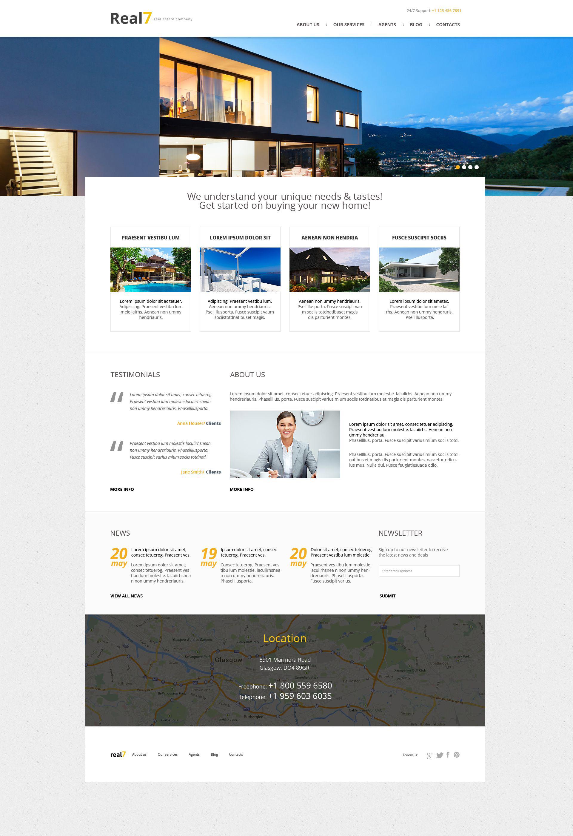 Адаптивный WordPress шаблон №51989 на тему агентство недвижимости - скриншот