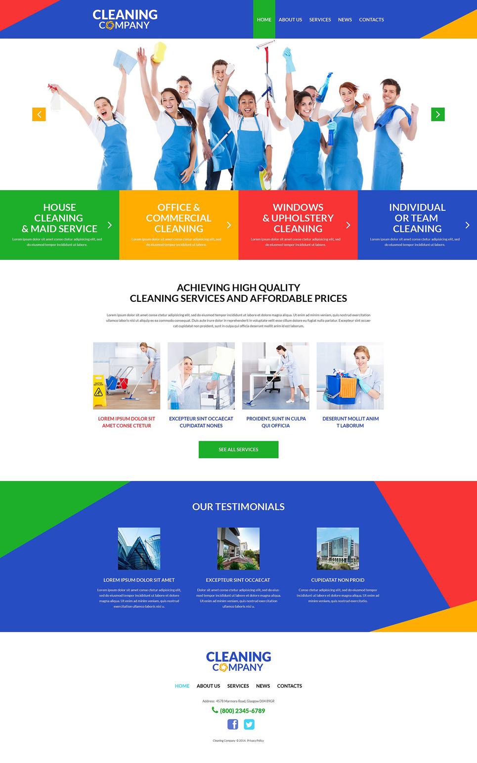 Адаптивный шаблон сайта на тему клининговая компания #51991