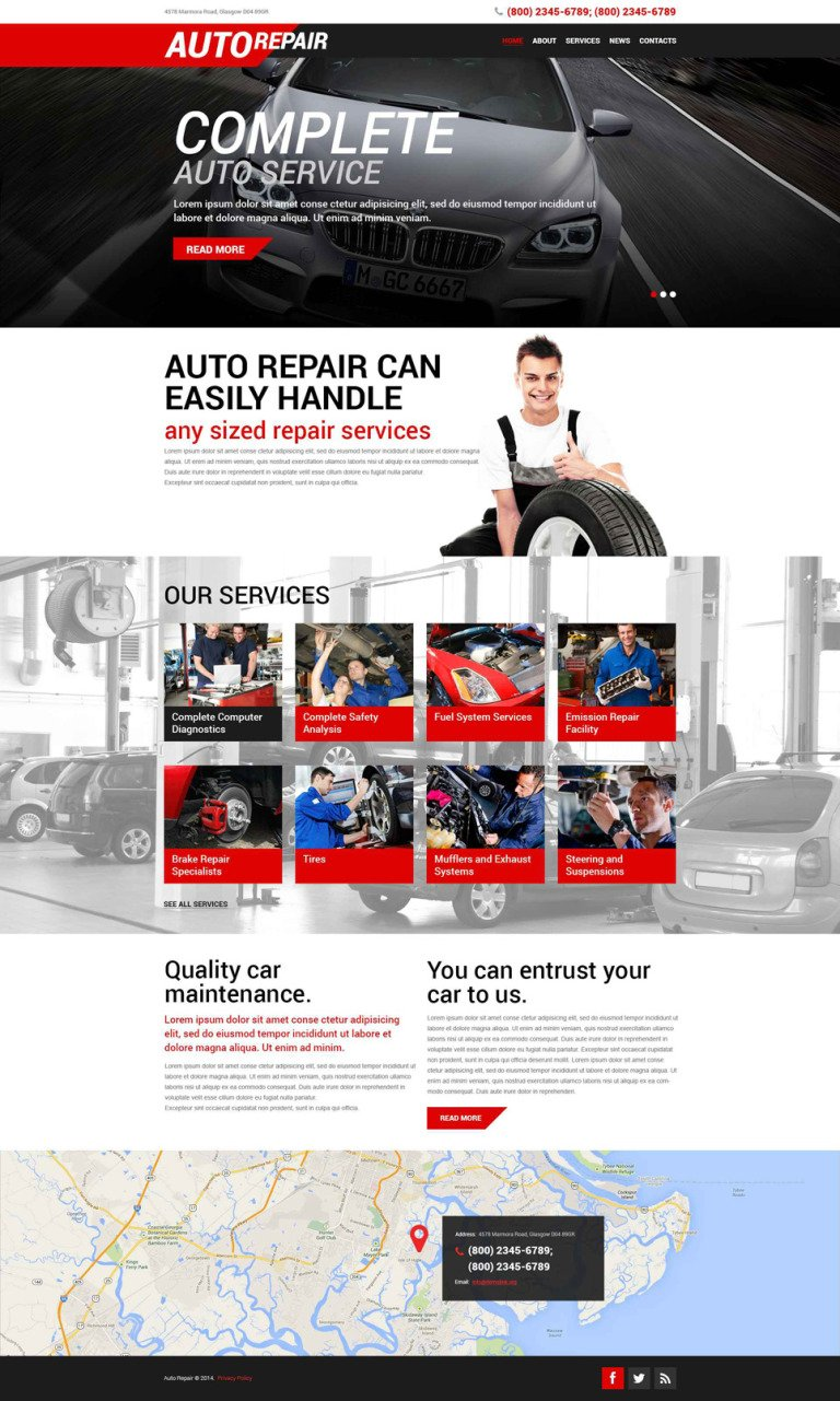 Auto Repair Service WordPress Theme New Screenshots BIG