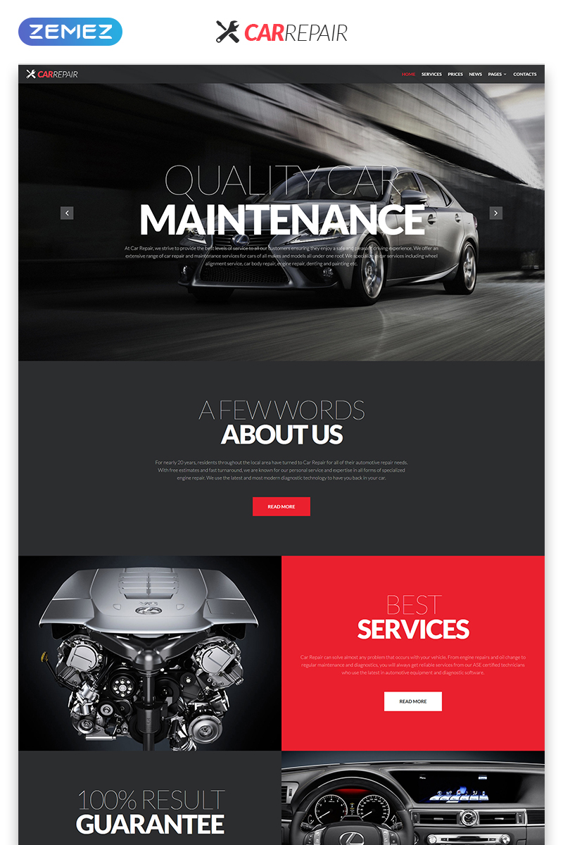 """Car Repair - Cars & Motorcycles Creative Responsive HTML"" 响应式网页模板 #51928"