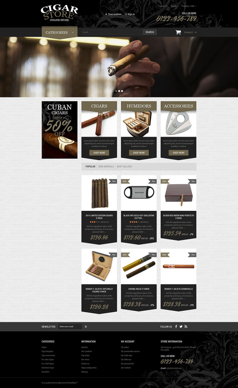 Cigar Smoking Diversion PrestaShop Theme New Screenshots BIG