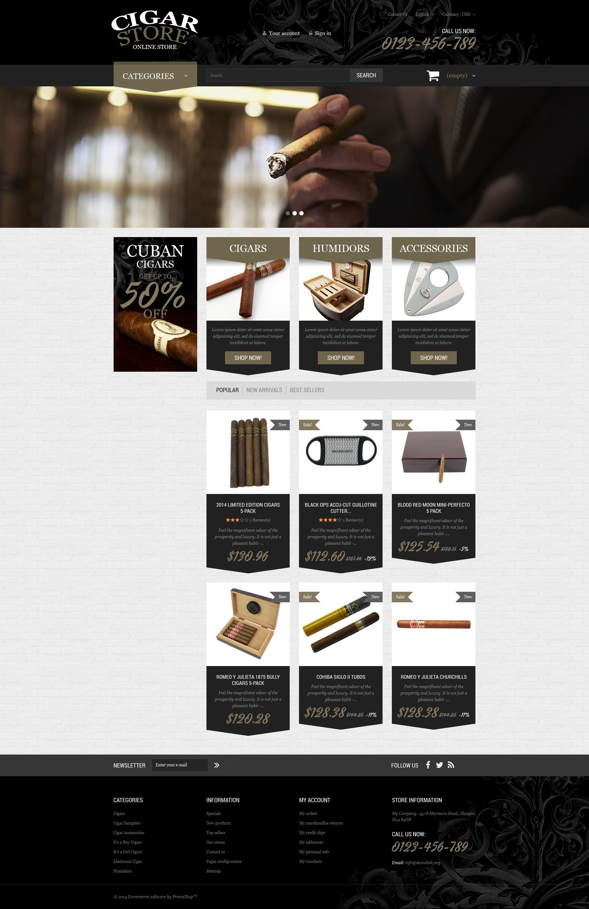 Cigar Smoking Diversion PrestaShop Theme