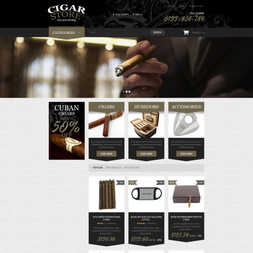 Cigar Store - PrestaShop Template based on Bootstrap