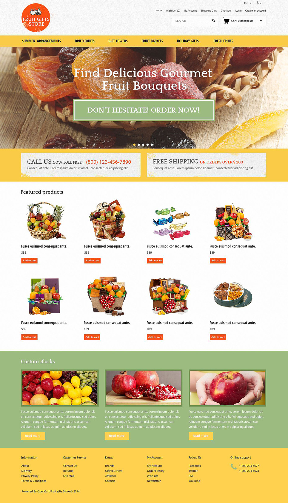 Fruit Gifts OpenCart Template New Screenshots BIG