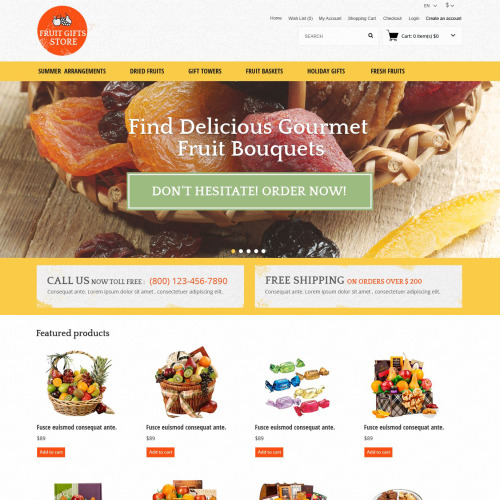 Fruit Gifts Store - OpenCart Template based on Bootstrap