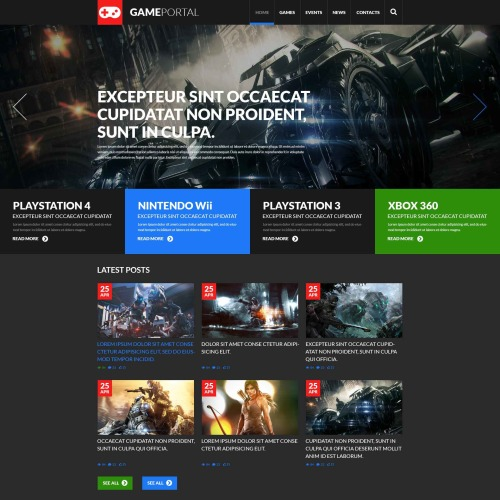 Gaming Portal - WordPress Template based on Bootstrap
