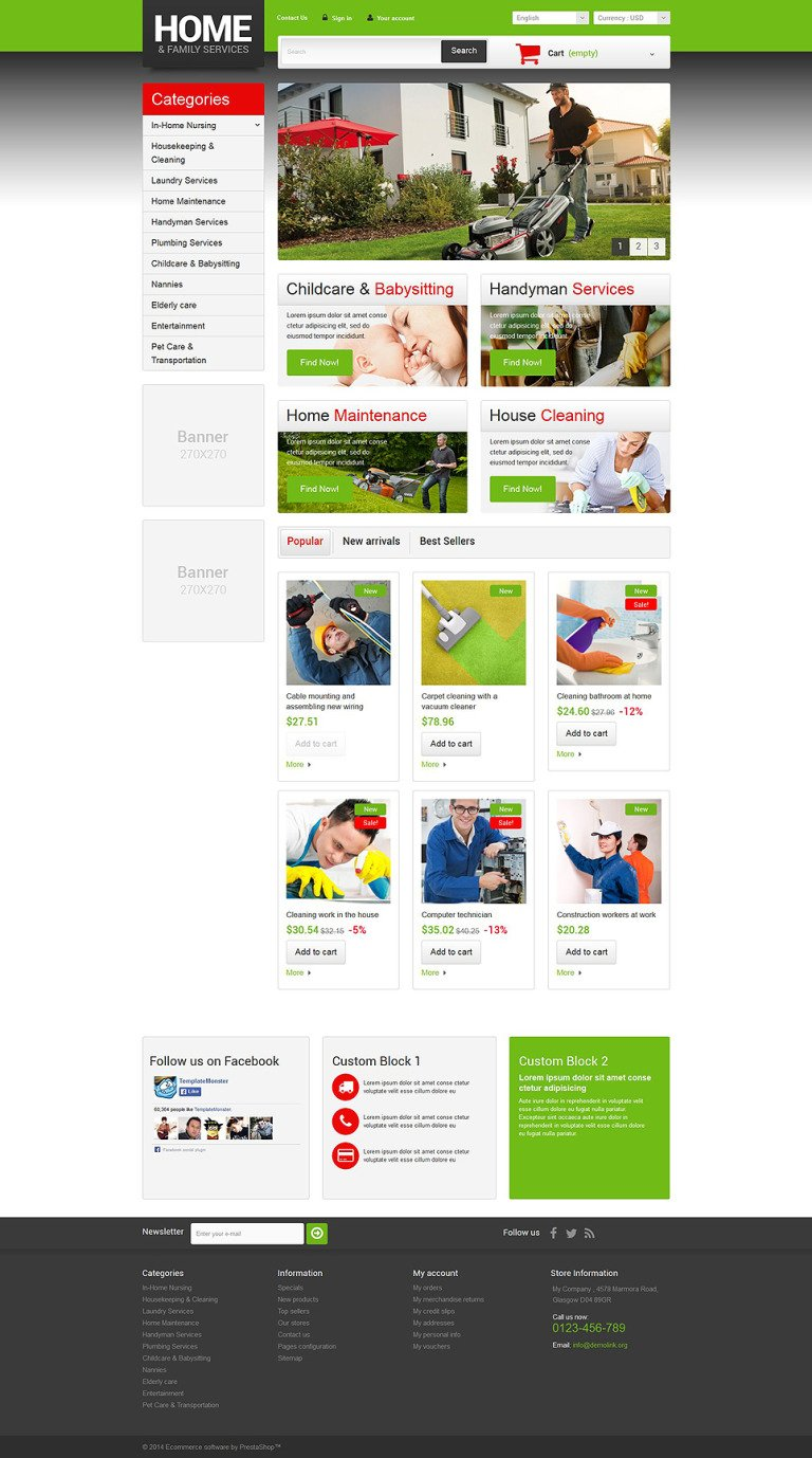 Home Family Services PrestaShop Theme New Screenshots BIG