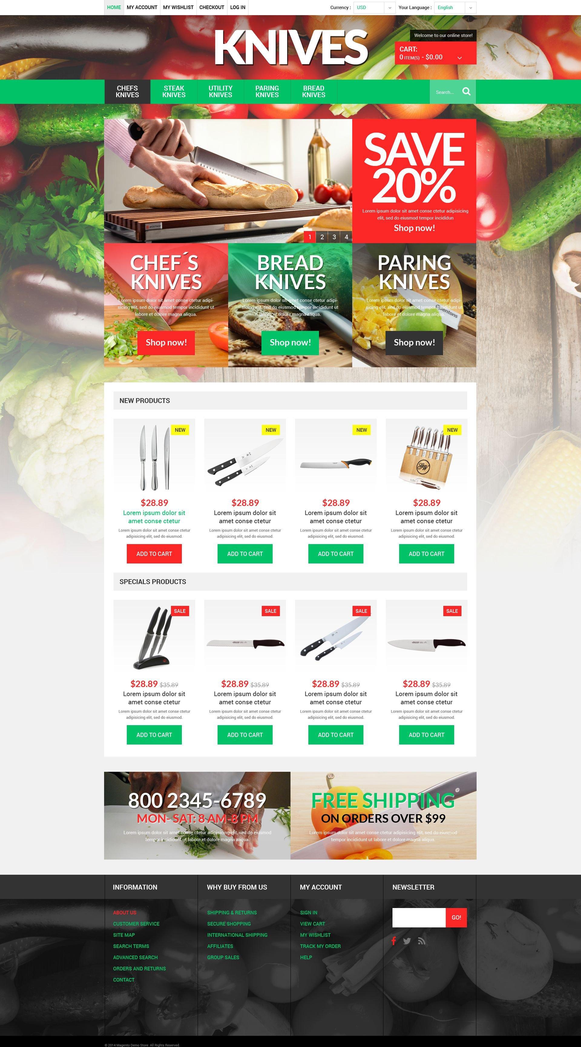 """Knives Online Store"" - адаптивний Magento шаблон №51921"