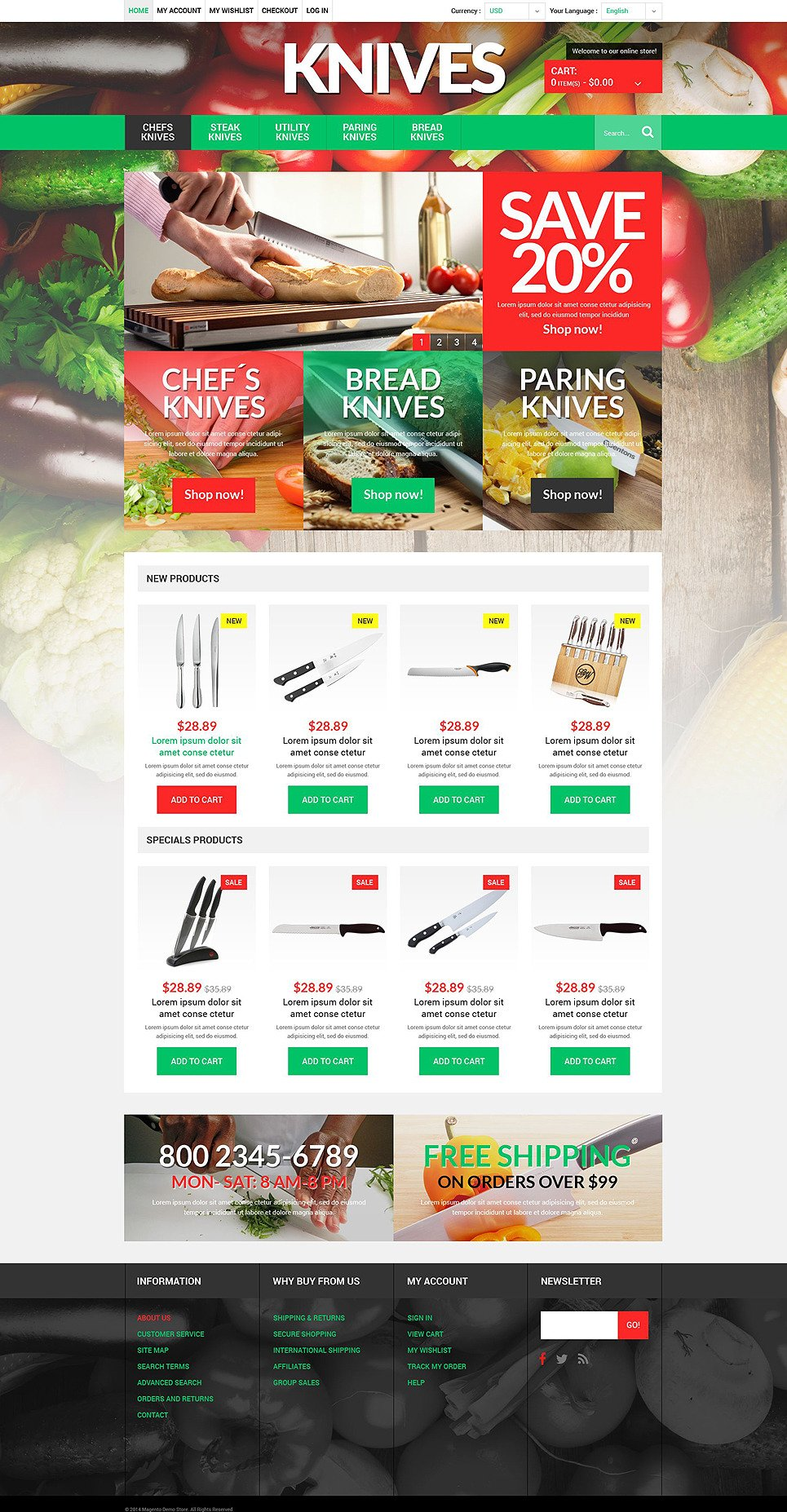 Knives Online Store Magento Theme New Screenshots BIG