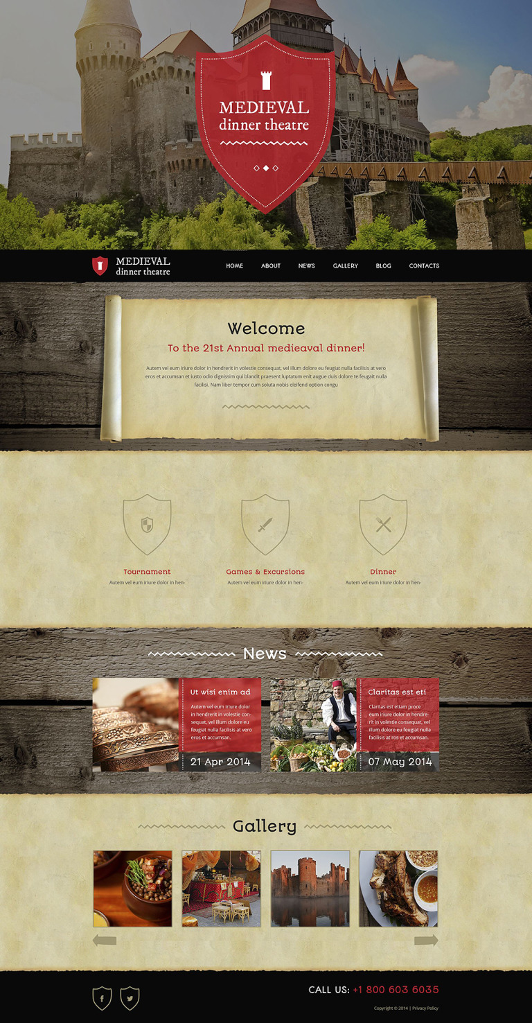 Medieval Dinner Theater WordPress Theme New Screenshots BIG