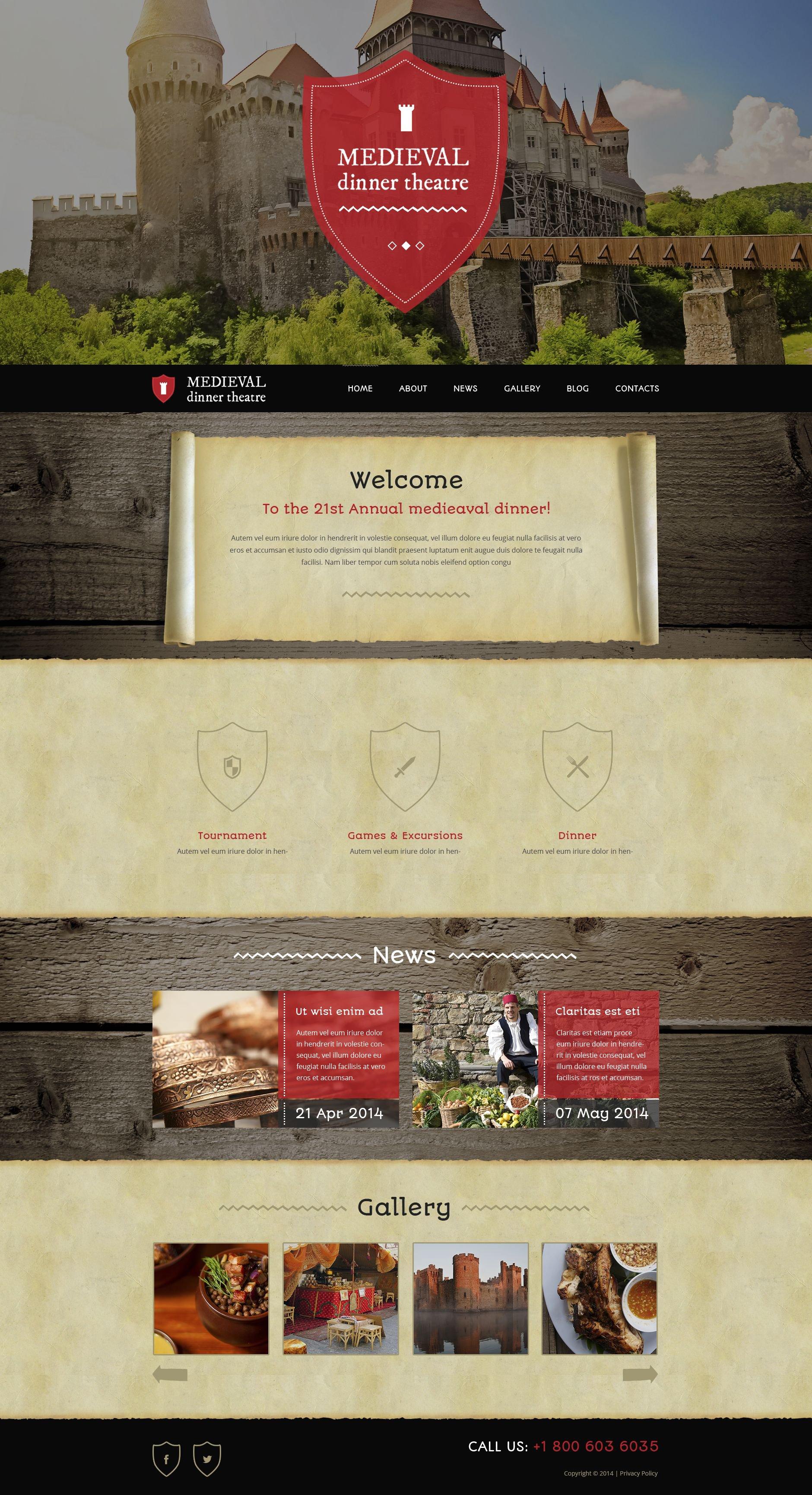 Medieval Dinner Theater Wordpress Theme 51987