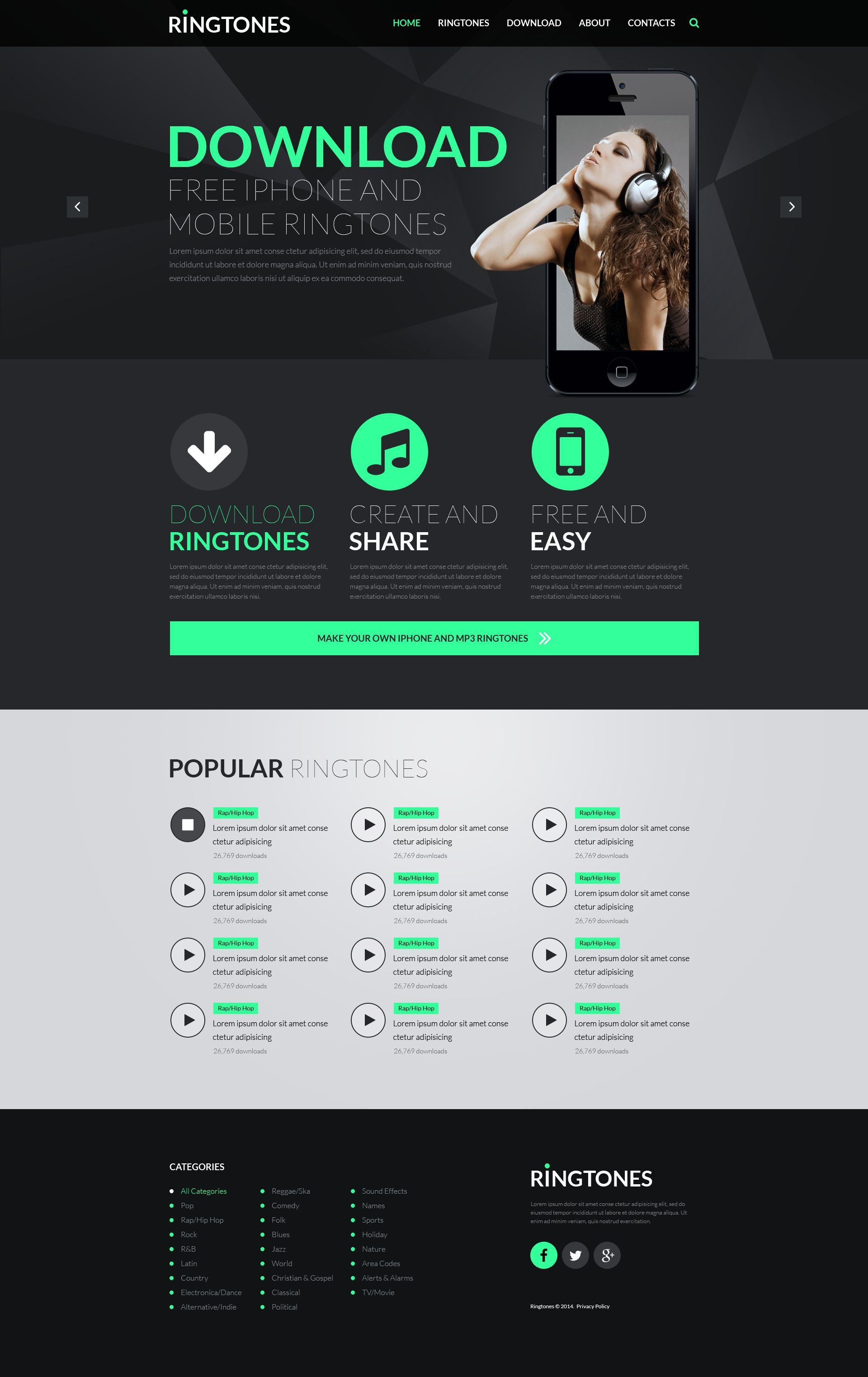 MP3 Store Responsive Website Template