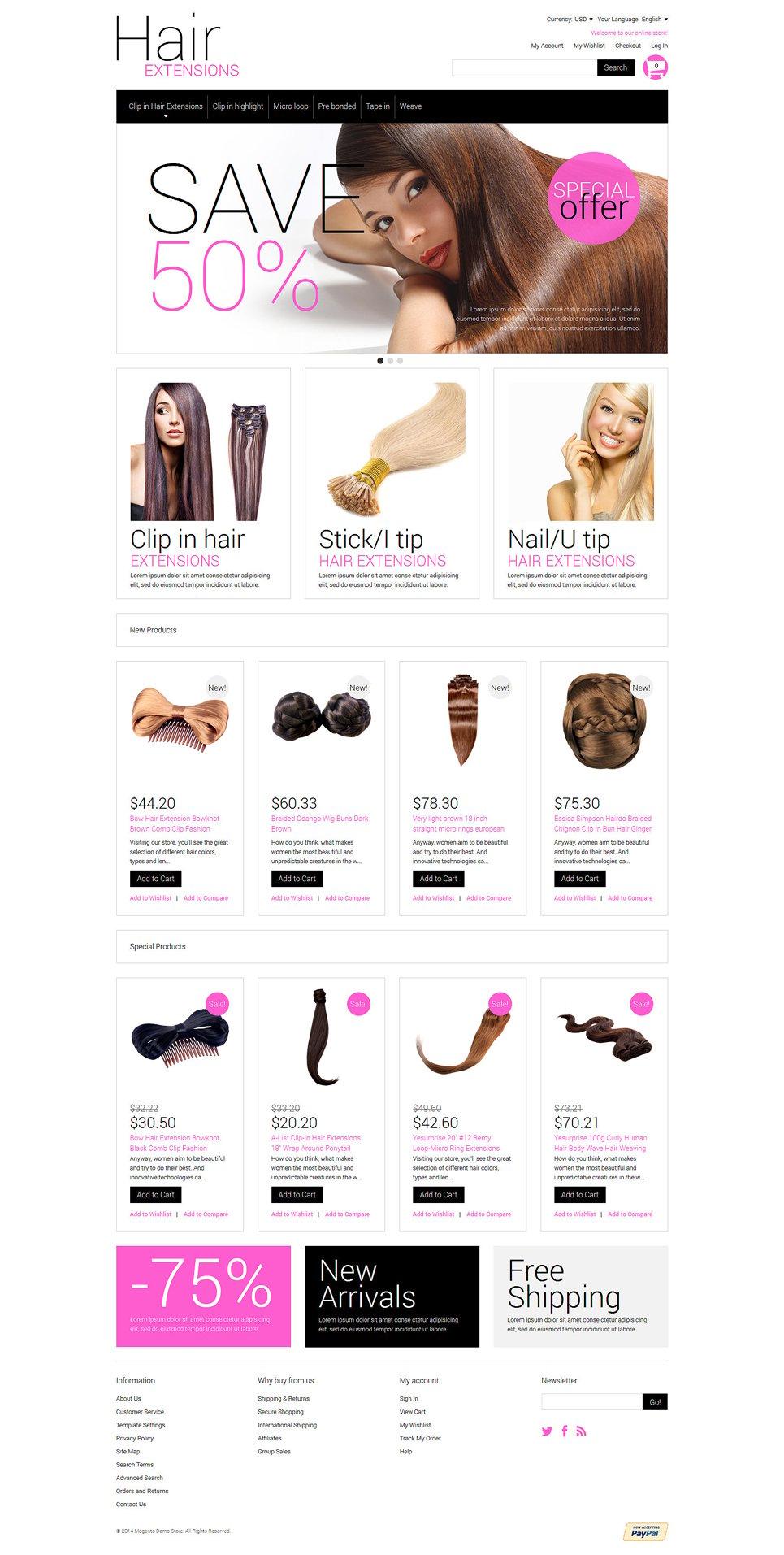 Multipurpose Hair Extensions Magento Theme 51969