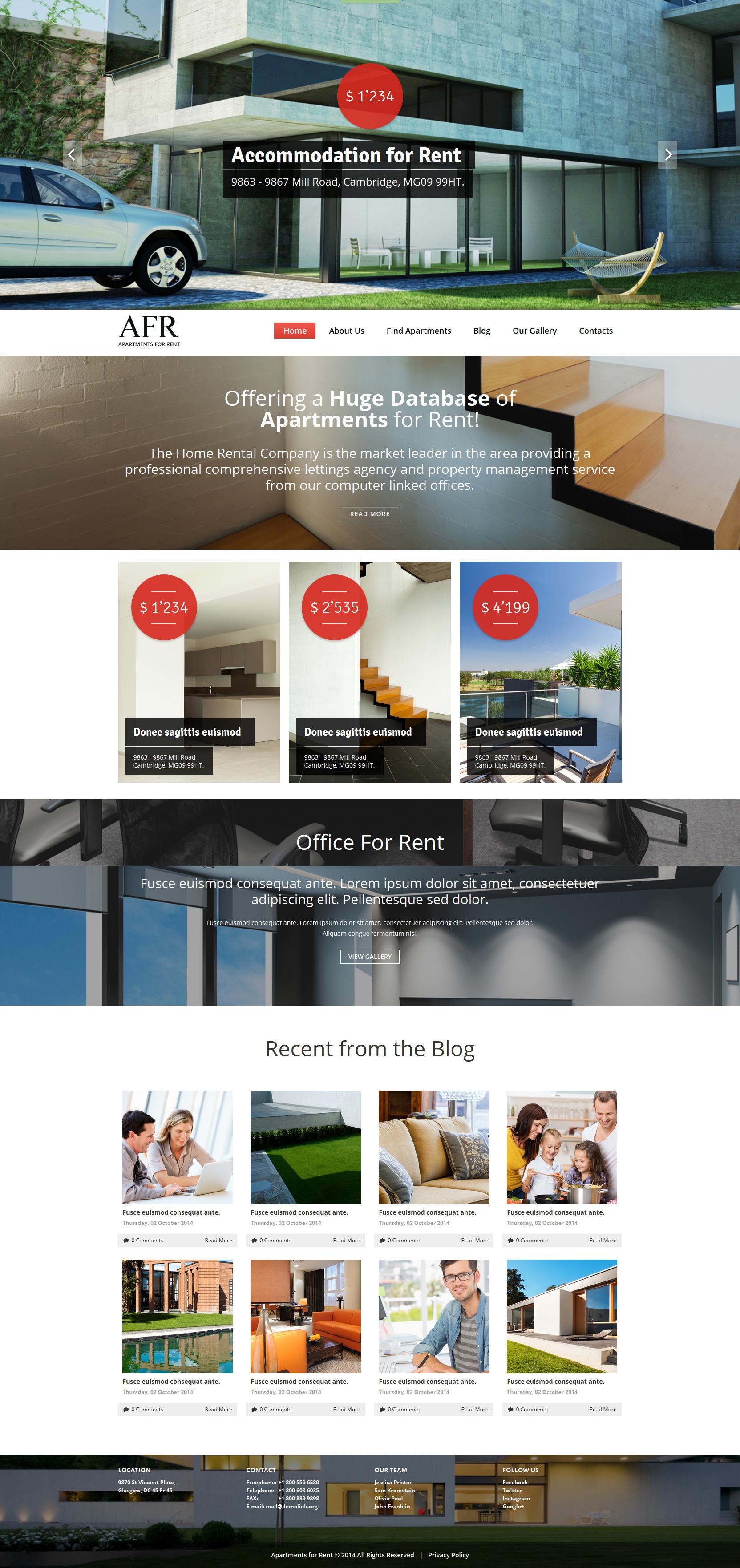 Renting Apartments Joomla Template - screenshot