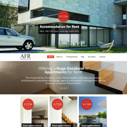 AFR Accomodation For Rent - Real Estate Agency Template based on Bootstrap