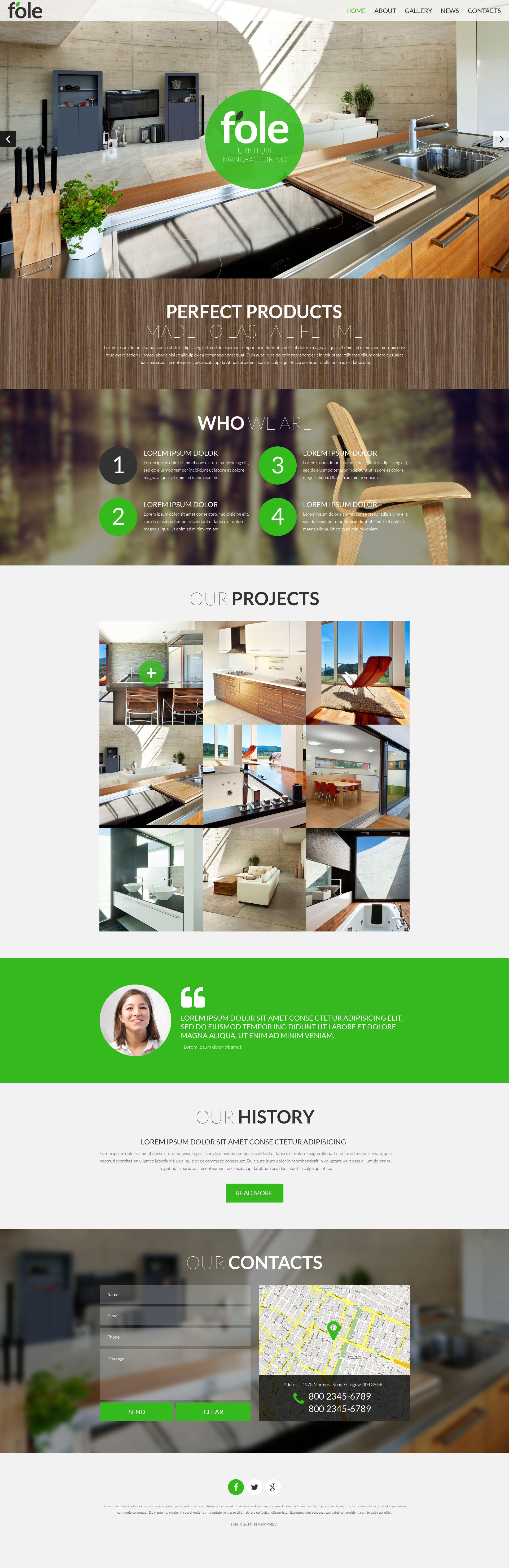 Responsive Website Vorlage für Möbel #51901