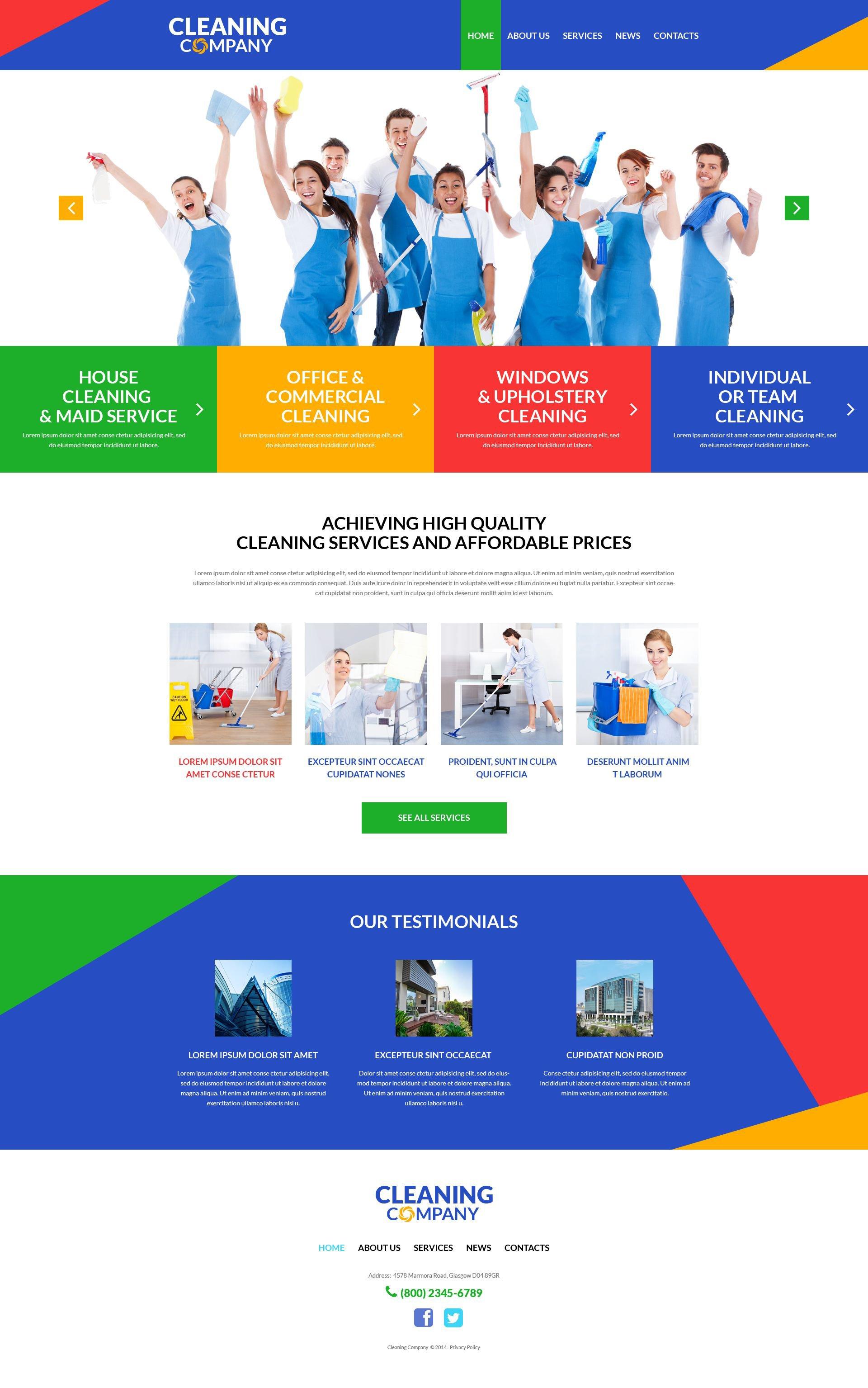 Responsywny motyw WordPress Cleaning Services #51991 - zrzut ekranu