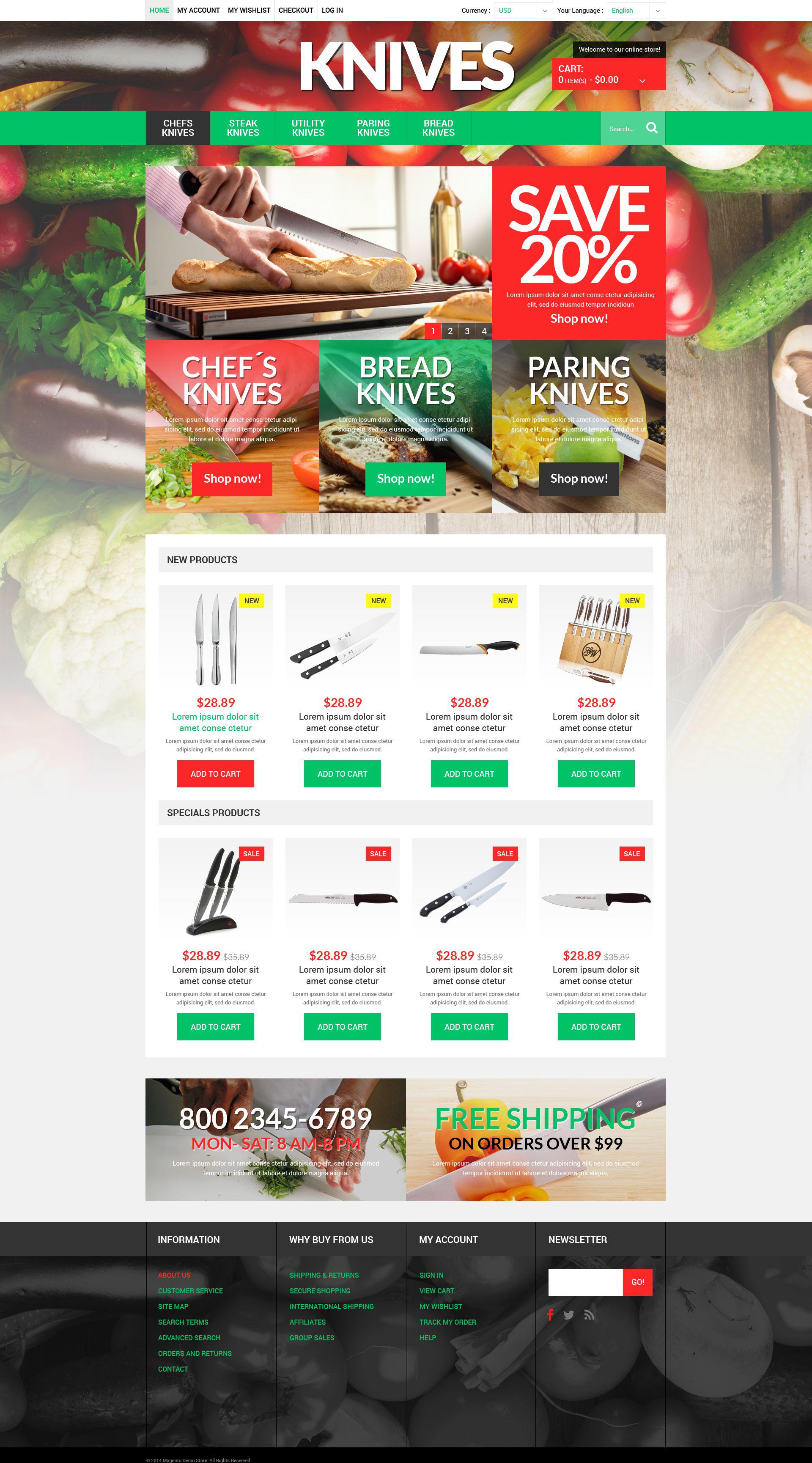 """Responzivní Magento motiv """"Knives Online Store"""" #51921"""