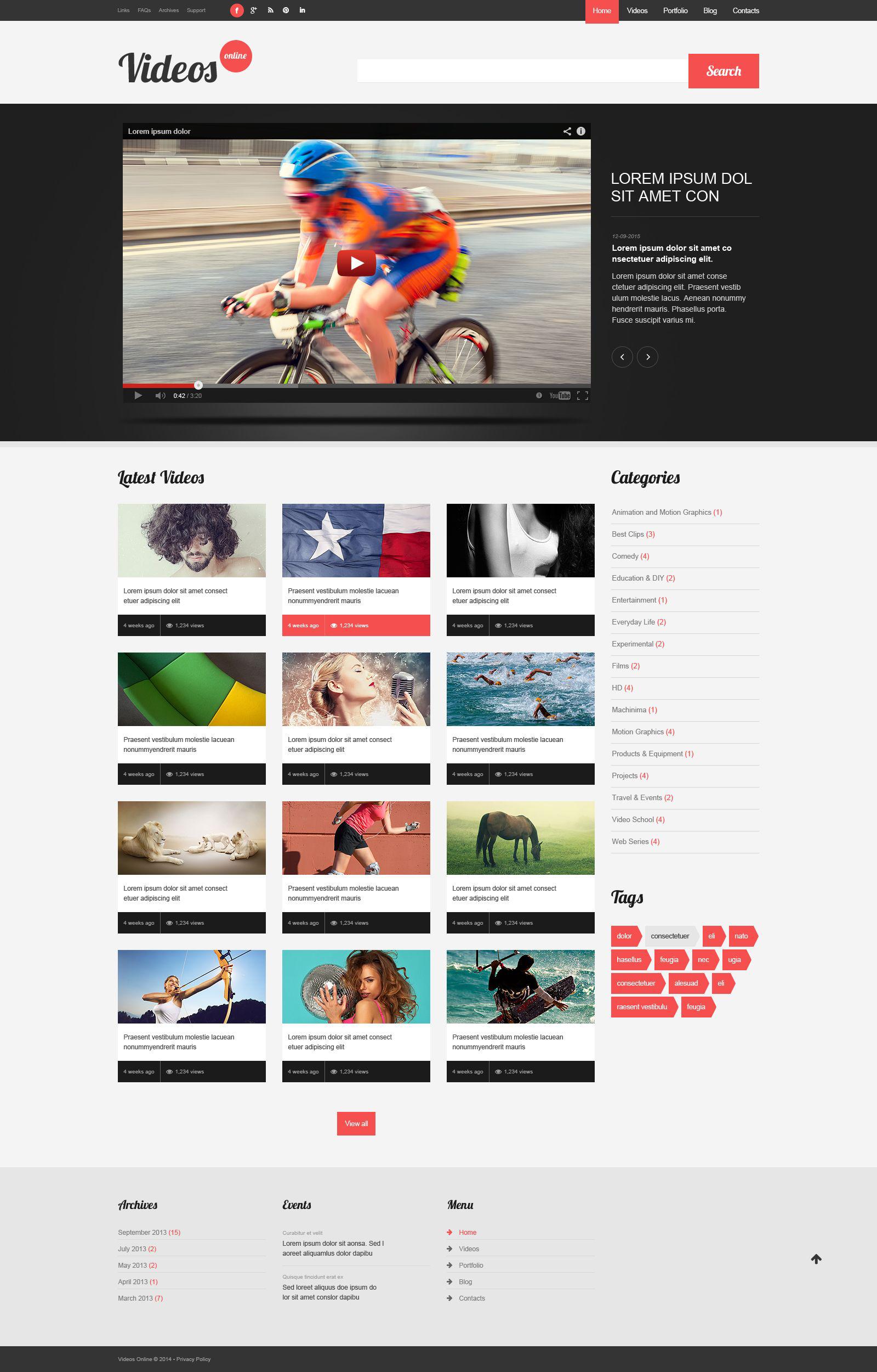 Reszponzív Video Content WordPress sablon 51988 - képernyőkép