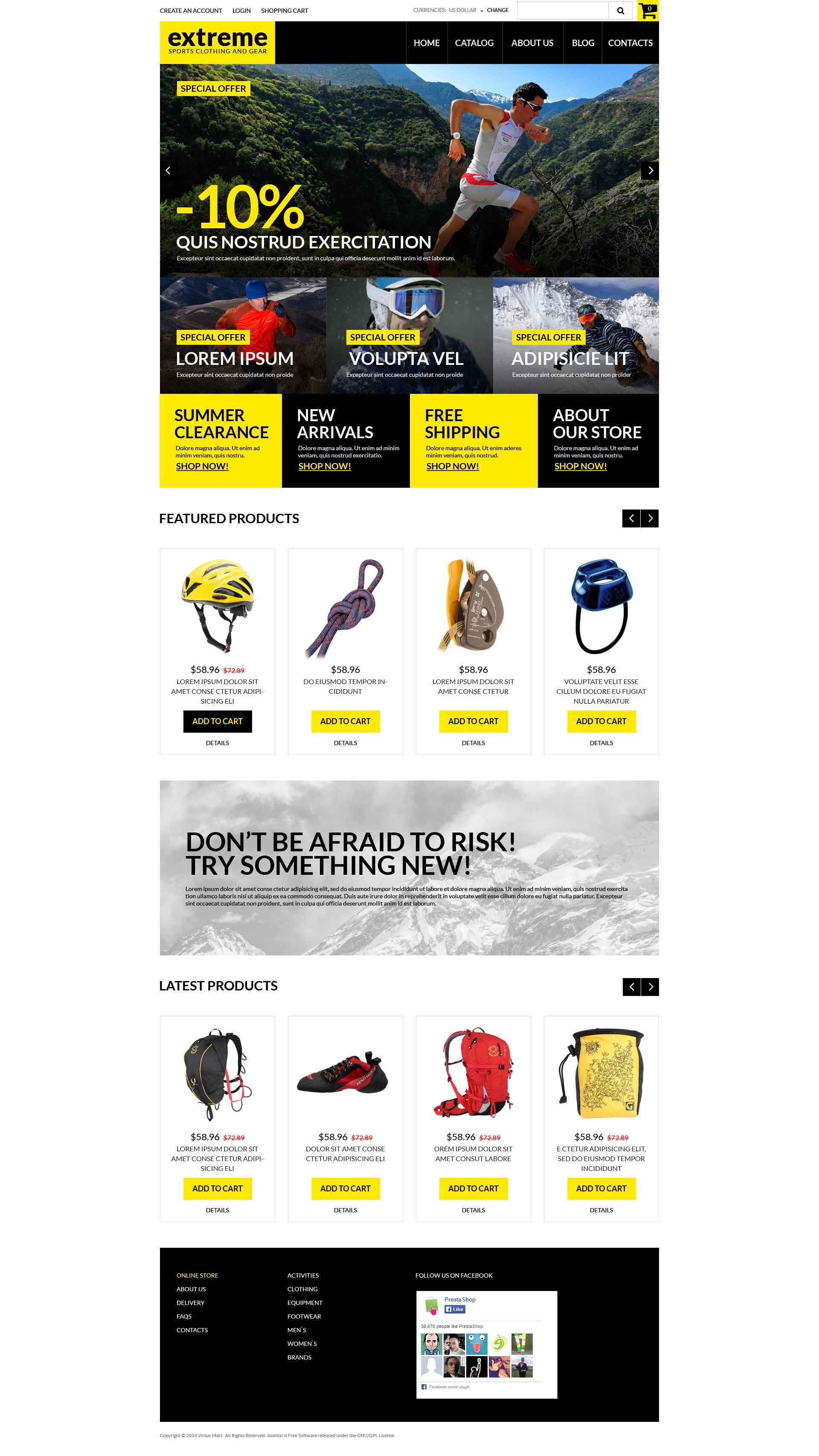 """Risk Takers Clothing  Gear"" VirtueMart Template №51976 - screenshot"