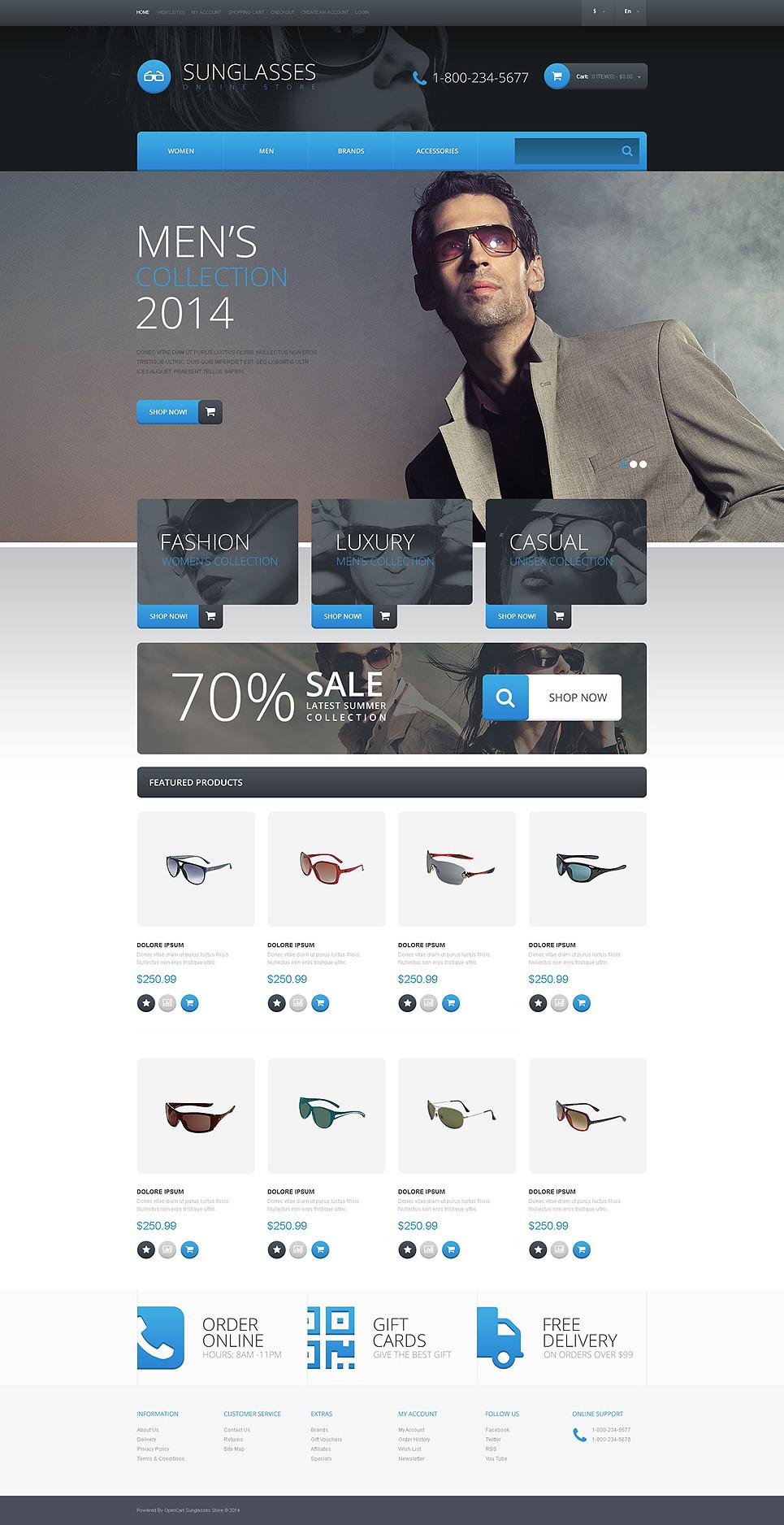 Sunglasses Shop OpenCart Template New Screenshots BIG