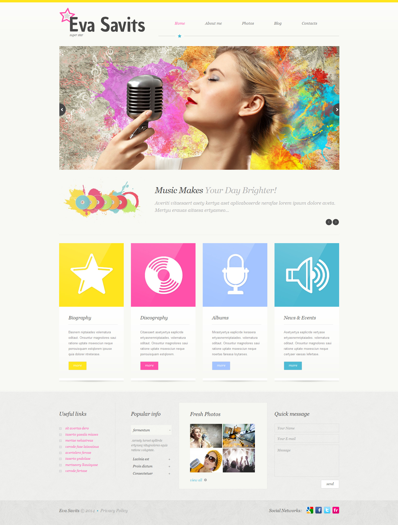 Template WordPress Responsive #51916 per Un Sito di Musica - screenshot