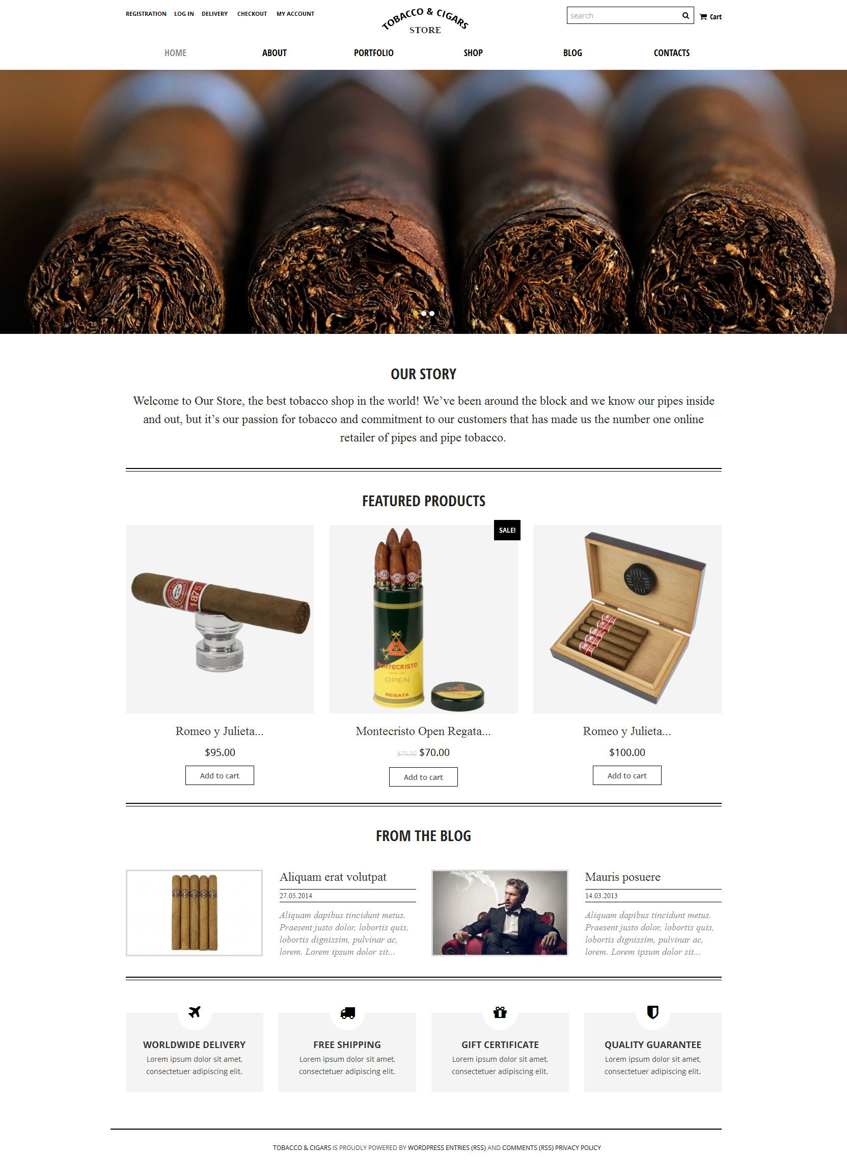 Tobacco  Cigars Store WooCommerce Theme