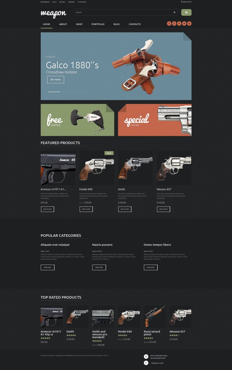 Weapon Shop WooCommerce Theme New Screenshots BIG