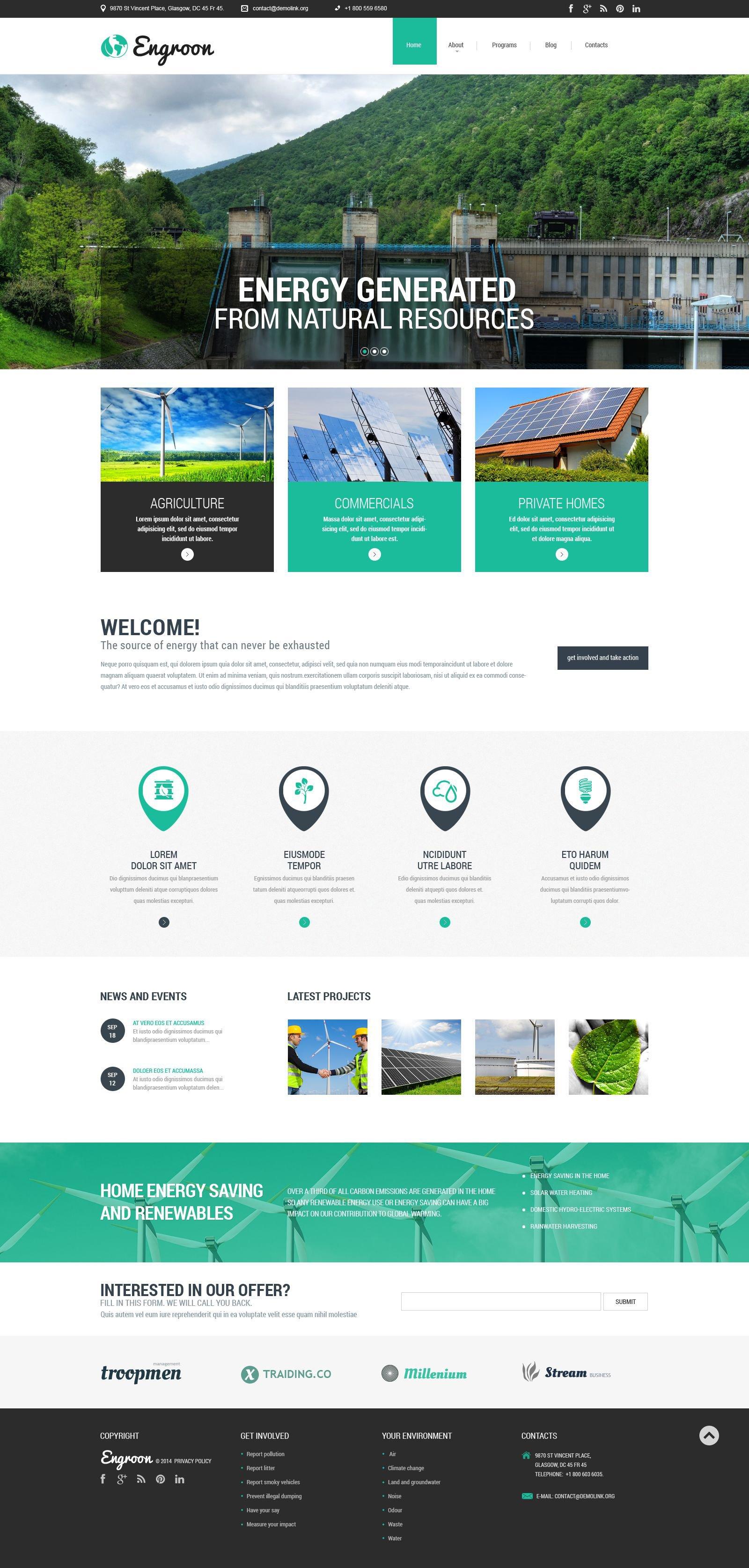 Wind Energy Responsive Website Template