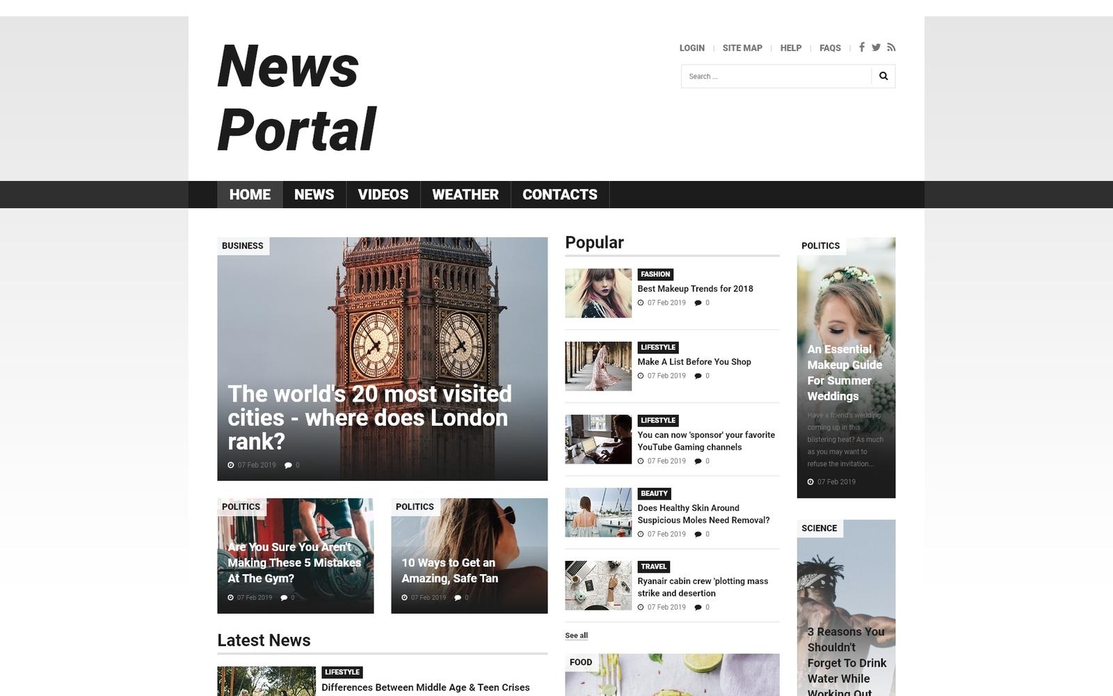 Адаптивный Joomla шаблон №52025 на тему новостной портал