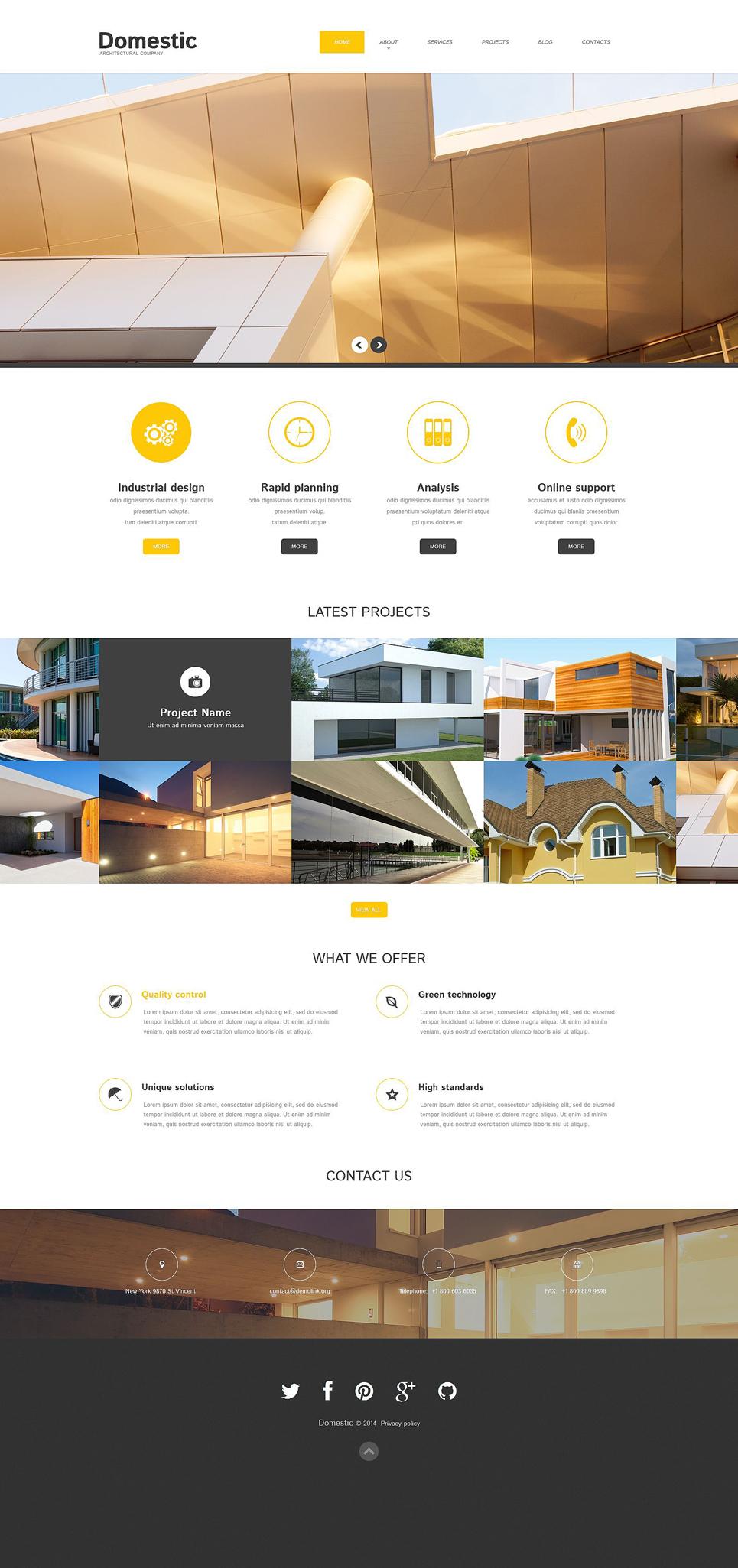 Адаптивный шаблон сайта на тему строительные компании #52038