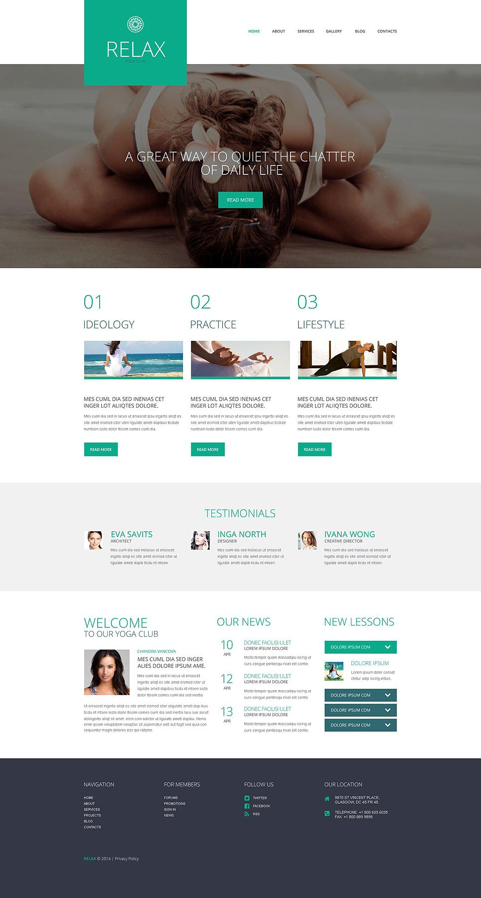 Адаптивный шаблон сайта на тему йога #52053