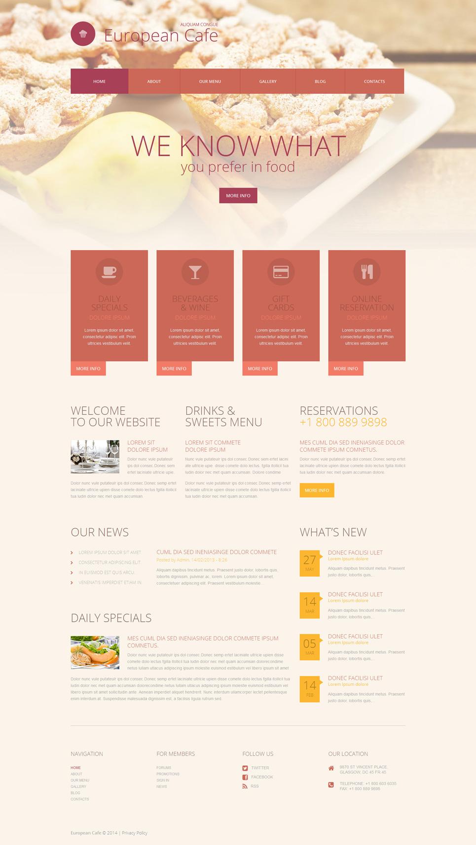 Адаптивный шаблон сайта на тему европейский ресторан #52062