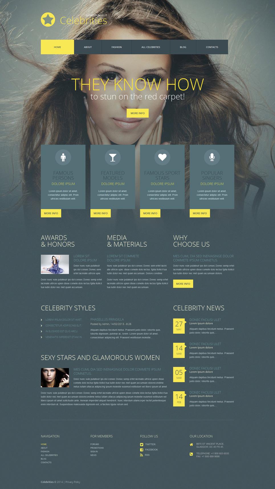 Адаптивный шаблон сайта на тему знаменитости #52063