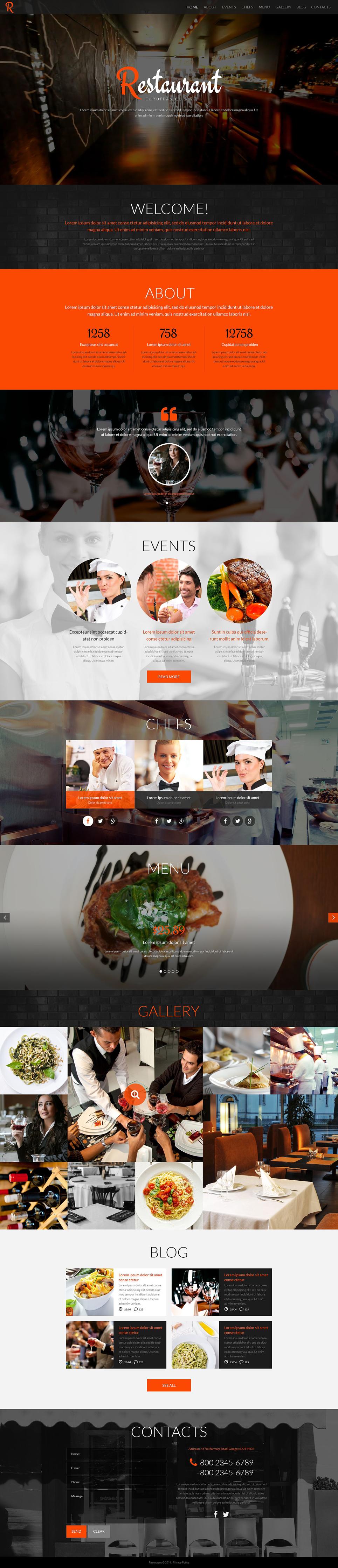 Адаптивный шаблон сайта на тему кафе и ресторан #52083
