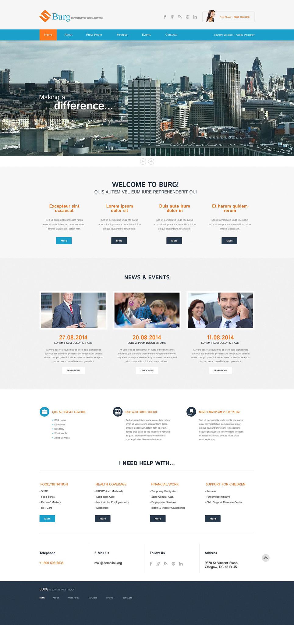 Адаптивный шаблон сайта на тему бизнес и услуги #52084